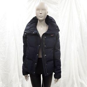 Hollister Navy Puffer winter Jacket coat sz M